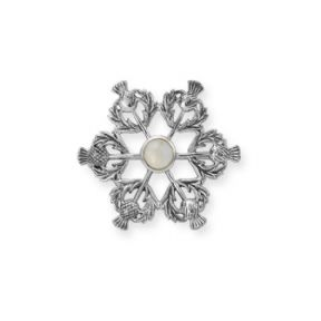 Scottish Thistle Silver Brooch with Agate Gemstone 9556